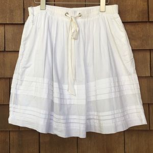 Odille White Cotton Skirt Drawstring Elastic Waist